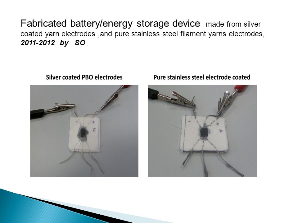 Fabricated battery/energy storage device made from silver coated yarn electrodes,and pure stainless steel filament yarns electrodes, 2011-2012 by SO