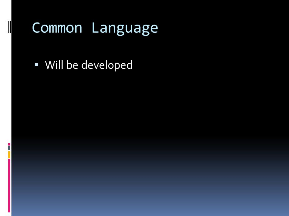 Common Language Will be developed