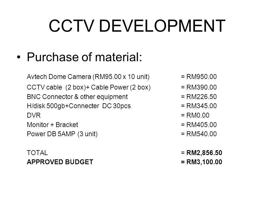 Purchase of material: Avtech Dome Camera (RM95.00 x 10 unit) = RM950.00 CCTV cable (2 box)+ Cable Power (2 box)= RM390.00 BNC Connector & other equipment= RM226.50 H/disk 500gb+Connecter DC 30pcs= RM345.00 DVR= RM0.00 Monitor + Bracket= RM405.00 Power DB 5AMP (3 unit)= RM540.00 TOTAL= RM2,856.50 APPROVED BUDGET= RM3,100.00