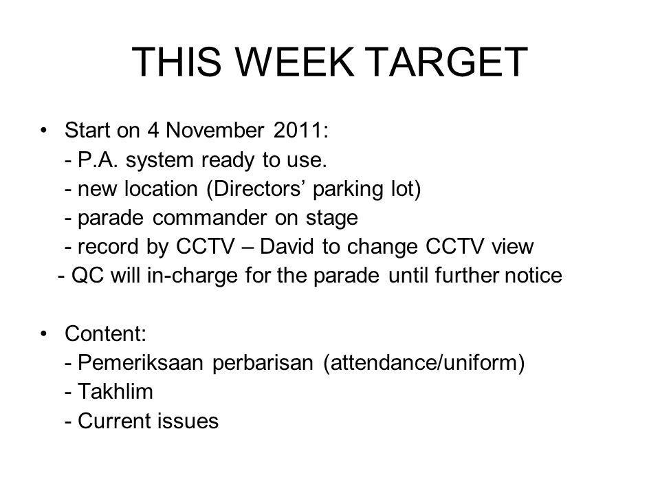 THIS WEEK TARGET Start on 4 November 2011: - P.A.system ready to use.