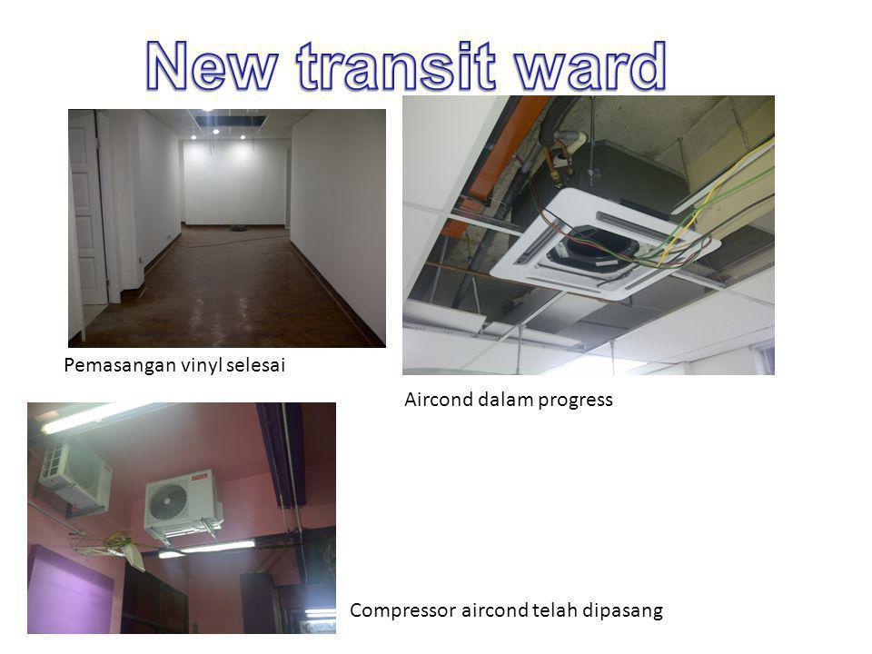 Pemasangan vinyl selesai Aircond dalam progress Compressor aircond telah dipasang