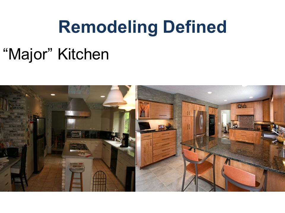 Remodeling Defined Major Kitchen Example of Conventional kitchen (McCaghy) before & after photo.