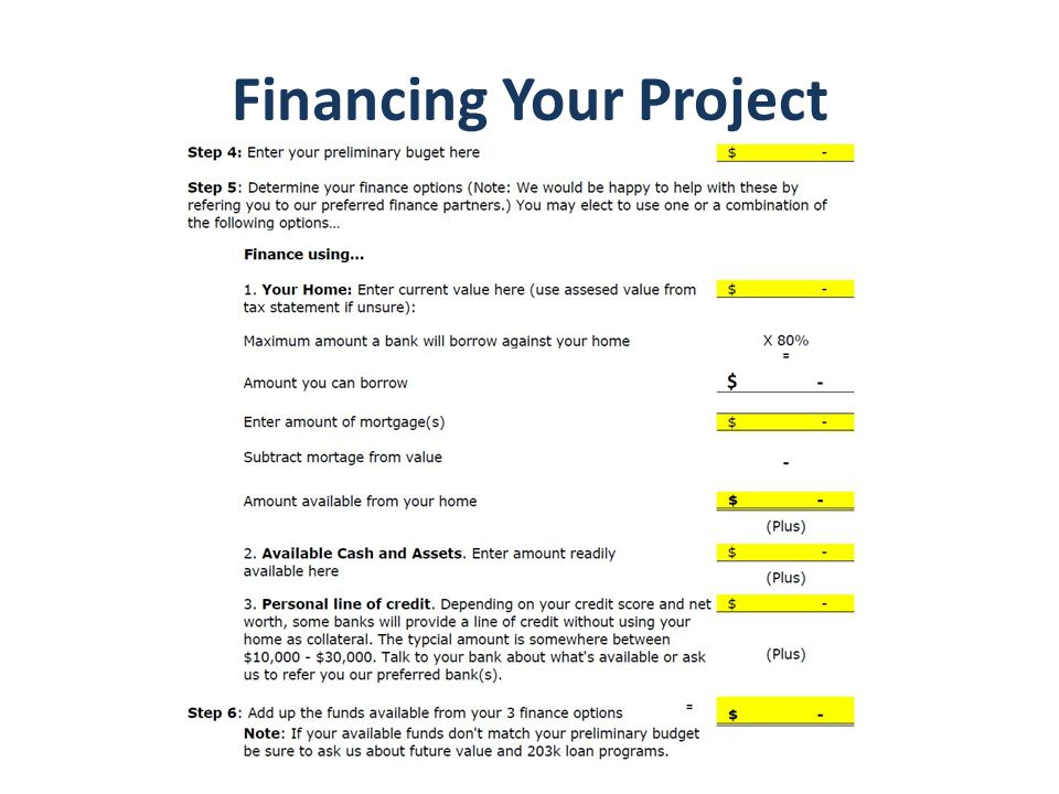 Financing Your Project