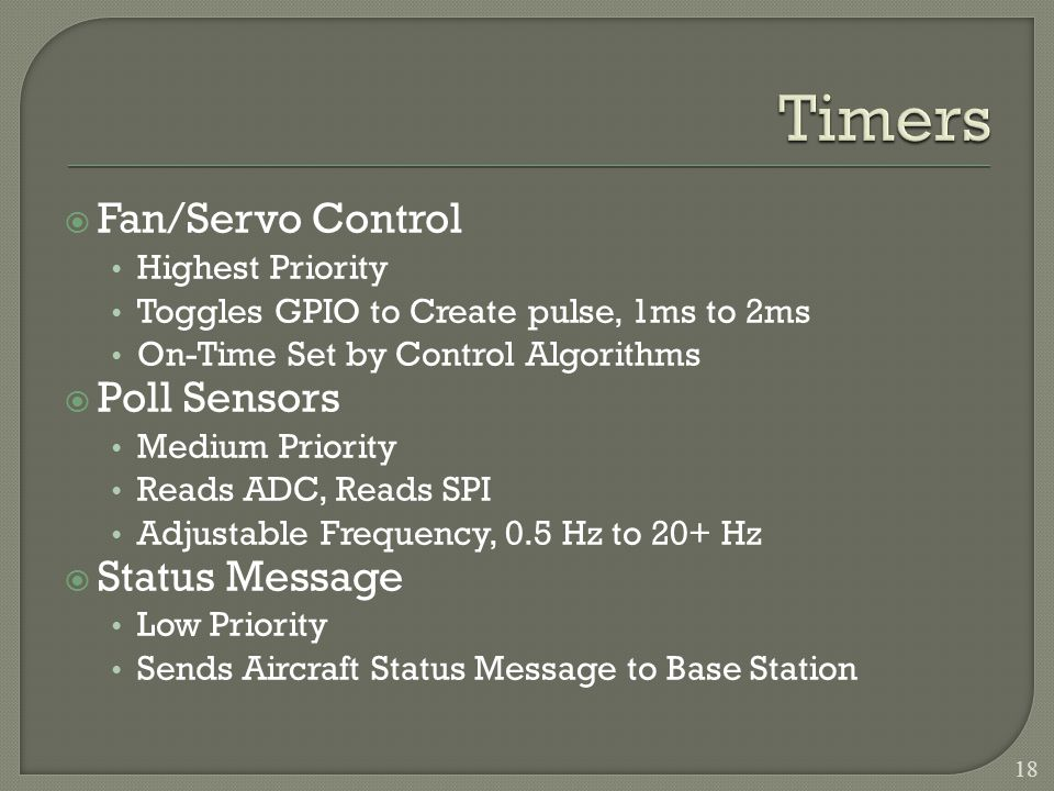 Fan/Servo Control Highest Priority Toggles GPIO to Create pulse, 1ms to 2ms On-Time Set by Control Algorithms Poll Sensors Medium Priority Reads ADC, Reads SPI Adjustable Frequency, 0.5 Hz to 20+ Hz Status Message Low Priority Sends Aircraft Status Message to Base Station 18