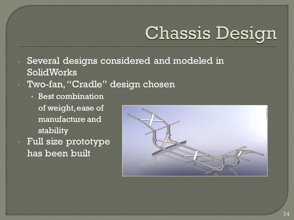 Several designs considered and modeled in SolidWorks Two-fan, Cradle design chosen Best combination of weight, ease of manufacture and stability Full size prototype has been built 34