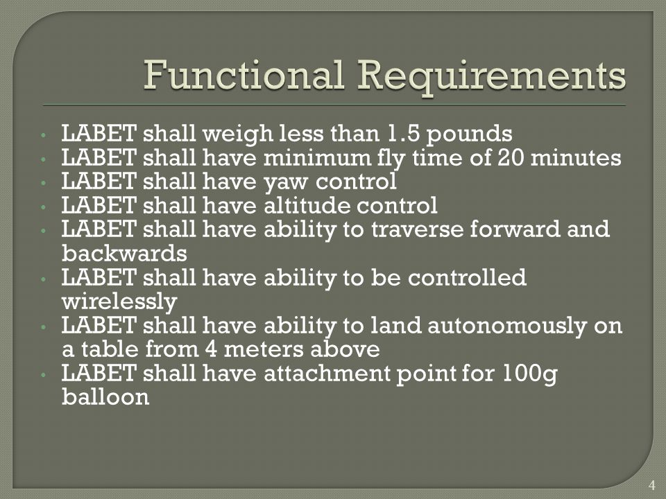 LABET shall weigh less than 1.5 pounds LABET shall have minimum fly time of 20 minutes LABET shall have yaw control LABET shall have altitude control LABET shall have ability to traverse forward and backwards LABET shall have ability to be controlled wirelessly LABET shall have ability to land autonomously on a table from 4 meters above LABET shall have attachment point for 100g balloon 4