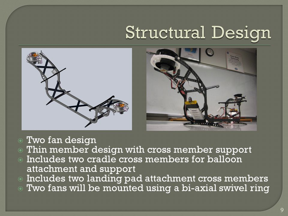 Two fan design Thin member design with cross member support Includes two cradle cross members for balloon attachment and support Includes two landing pad attachment cross members Two fans will be mounted using a bi-axial swivel ring 9