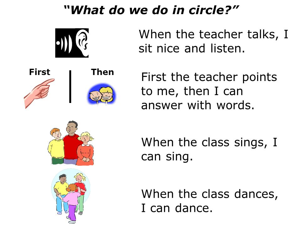 When the class dances, I can dance. FirstThen What do we do in circle.