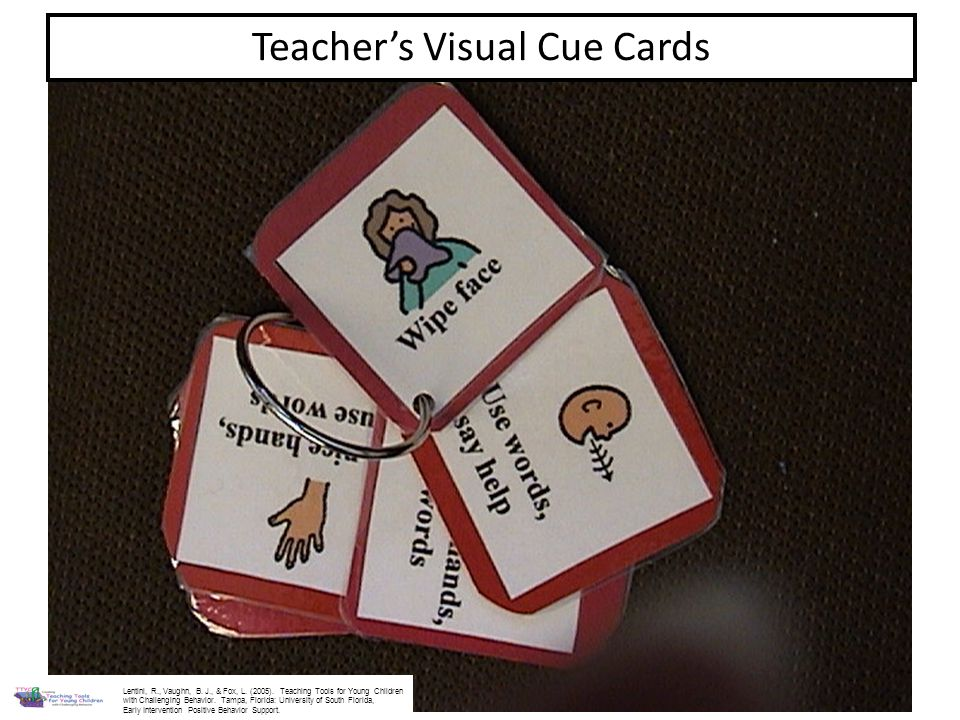 Teachers Visual Cue Cards Lentini, R., Vaughn, B. J., & Fox, L. (2005). Teaching Tools for Young Children with Challenging Behavior. Tampa, Florida: U