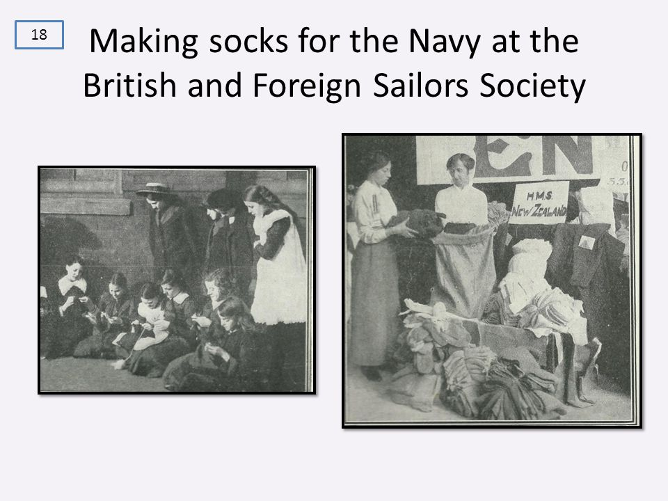 Making socks for the Navy at the British and Foreign Sailors Society 18