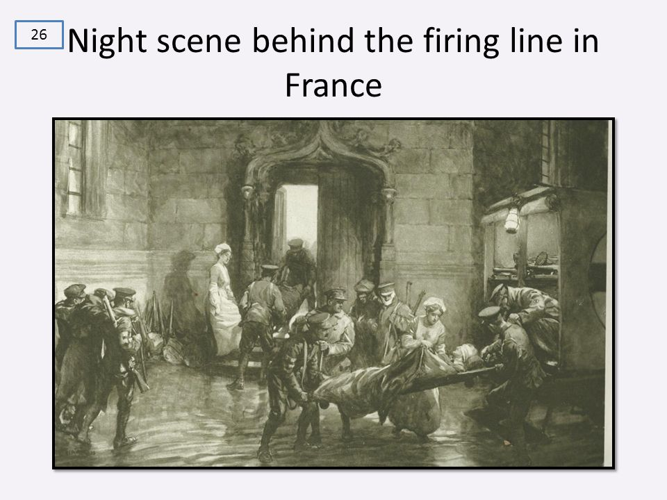 Night scene behind the firing line in France 26