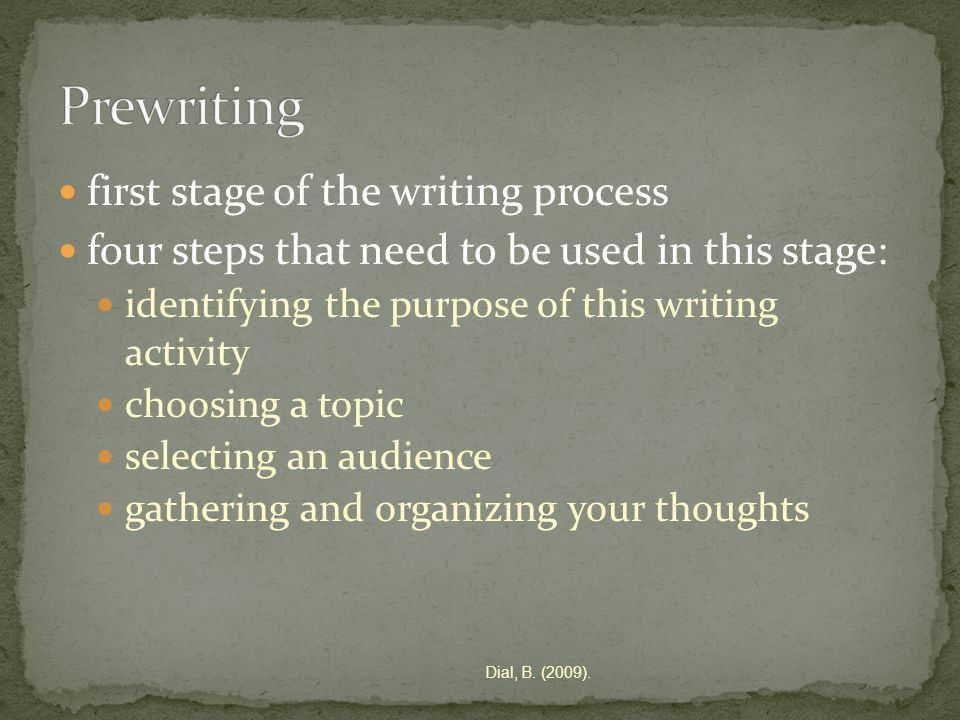 first stage of the writing process four steps that need to be used in this stage: identifying the purpose of this writing activity choosing a topic selecting an audience gathering and organizing your thoughts Dial, B.