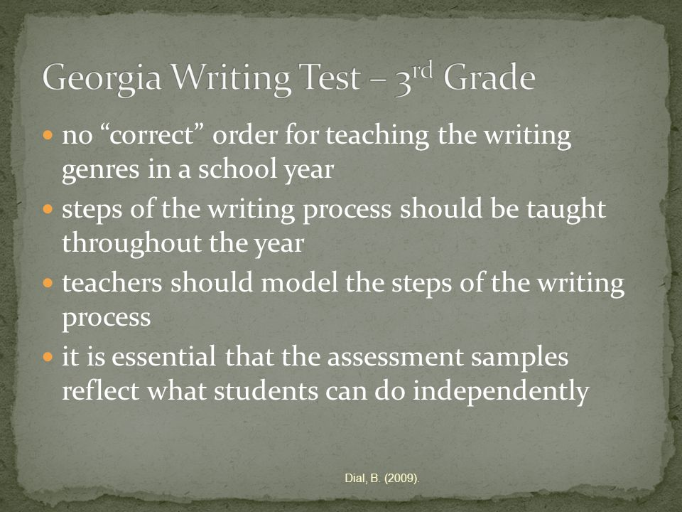 no correct order for teaching the writing genres in a school year steps of the writing process should be taught throughout the year teachers should model the steps of the writing process it is essential that the assessment samples reflect what students can do independently Dial, B.
