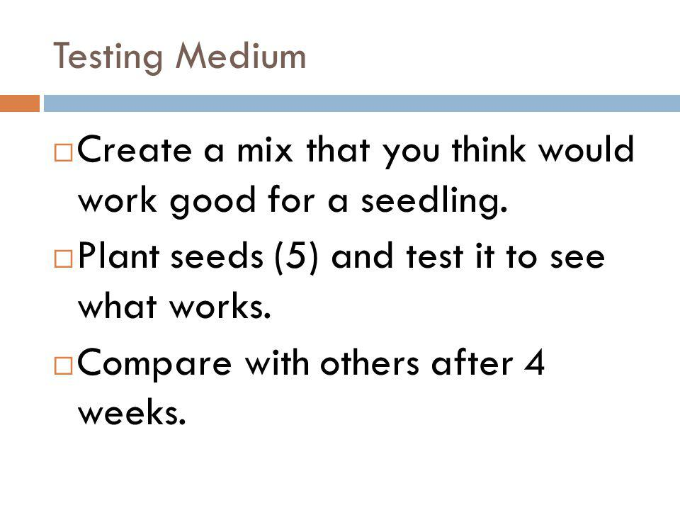 Testing Medium Create a mix that you think would work good for a seedling. Plant seeds (5) and test it to see what works. Compare with others after 4