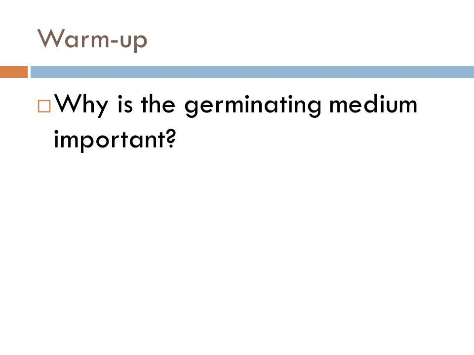 Warm-up Why is the germinating medium important?