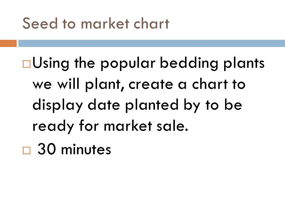 Seed to market chart Using the popular bedding plants we will plant, create a chart to display date planted by to be ready for market sale. 30 minutes