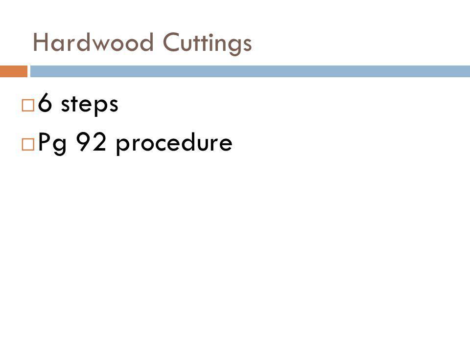Hardwood Cuttings 6 steps Pg 92 procedure