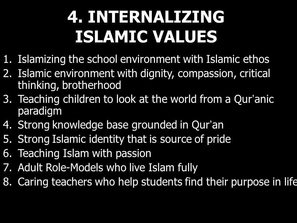 4. INTERNALIZING ISLAMIC VALUES 1.Islamizing the school environment with Islamic ethos 2.Islamic environment with dignity, compassion, critical thinki
