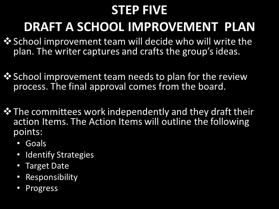 STEP FIVE DRAFT A SCHOOL IMPROVEMENT PLAN School improvement team will decide who will write the plan. The writer captures and crafts the groups ideas