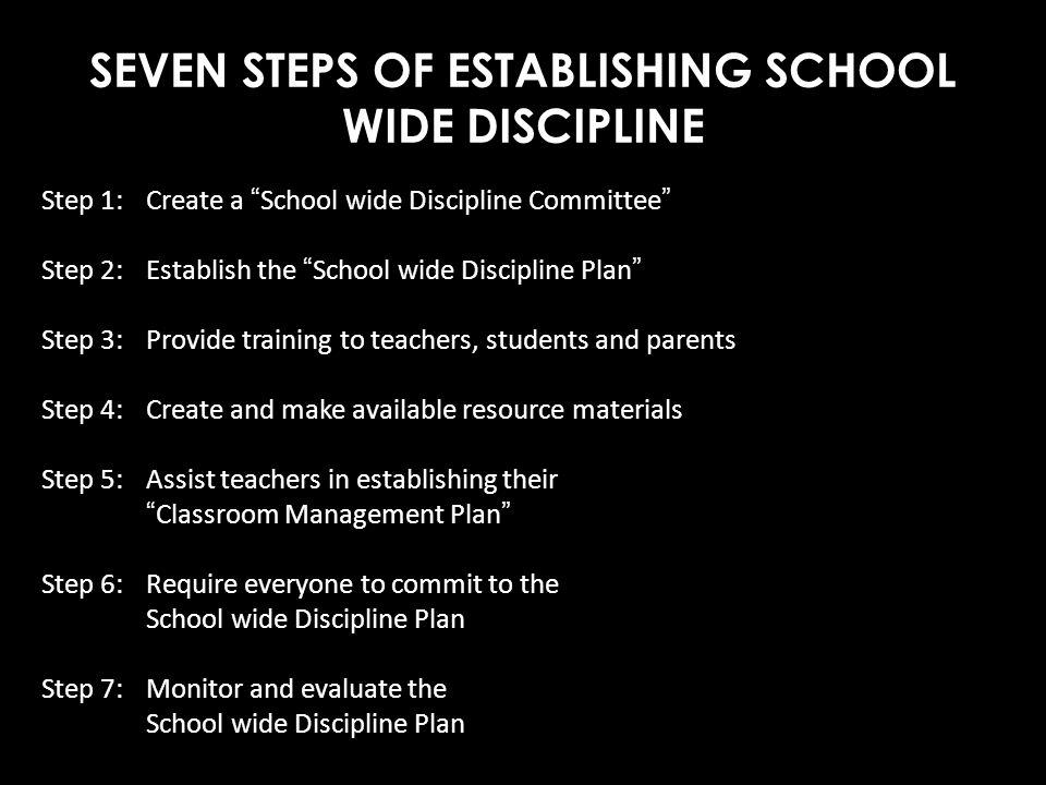 SEVEN STEPS OF ESTABLISHING SCHOOL WIDE DISCIPLINE Step 1:Create a School wide Discipline Committee Step 2:Establish the School wide Discipline Plan S