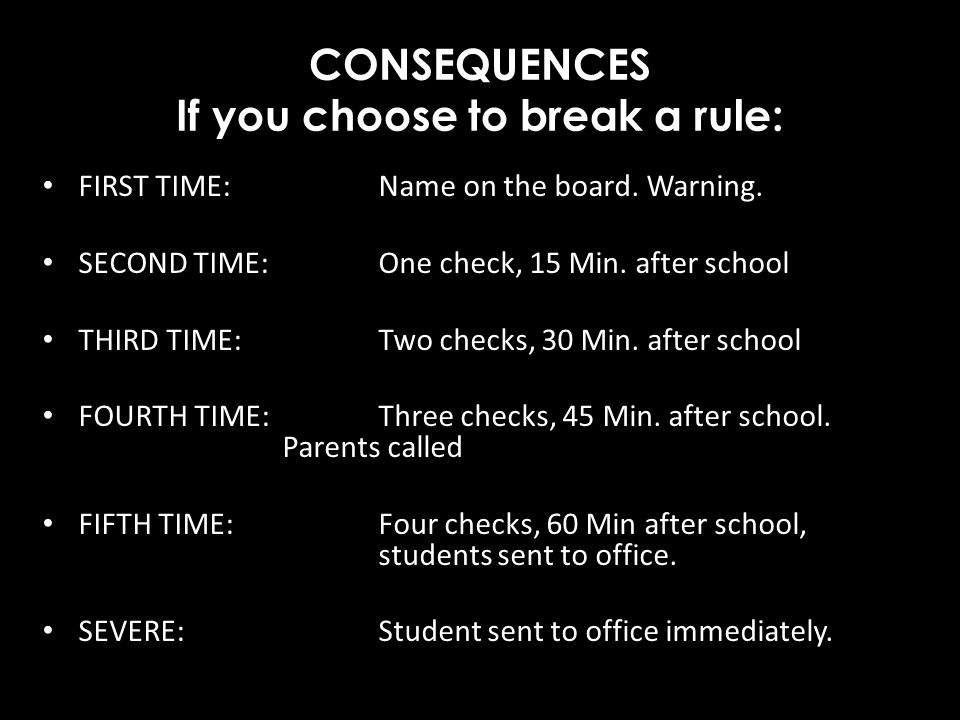 CONSEQUENCES If you choose to break a rule: FIRST TIME: Name on the board. Warning. SECOND TIME: One check, 15 Min. after school THIRD TIME: Two check