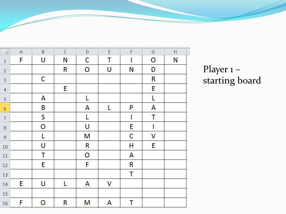 Player 1 – starting board
