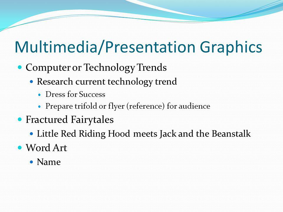 Multimedia/Presentation Graphics Computer or Technology Trends Research current technology trend Dress for Success Prepare trifold or flyer (reference) for audience Fractured Fairytales Little Red Riding Hood meets Jack and the Beanstalk Word Art Name