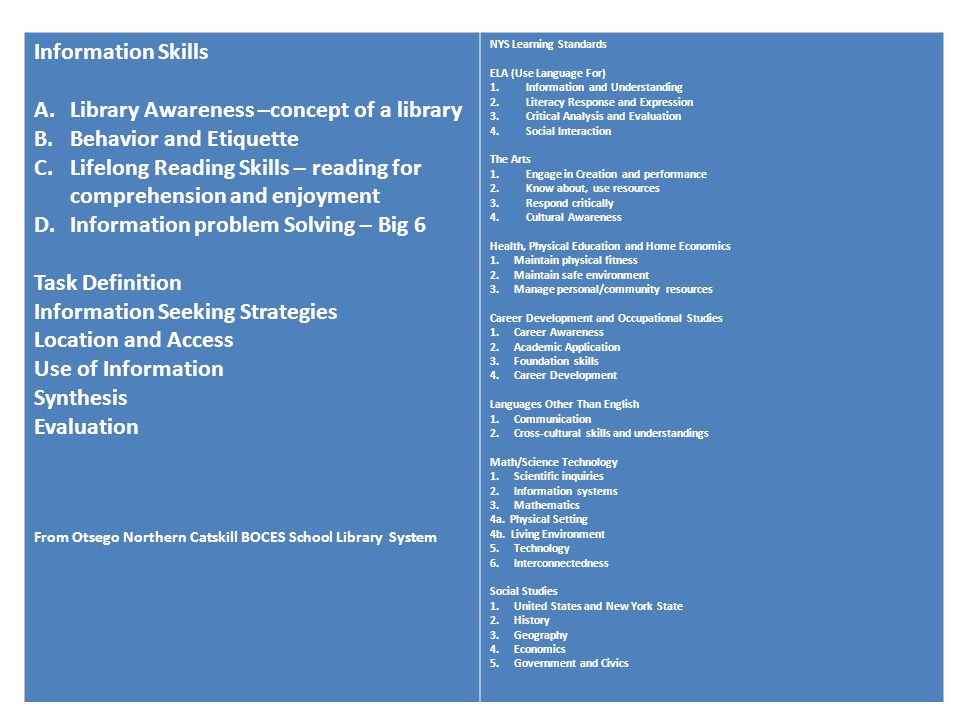 Information Skills A.Library Awareness –concept of a library B.Behavior and Etiquette C.Lifelong Reading Skills – reading for comprehension and enjoym
