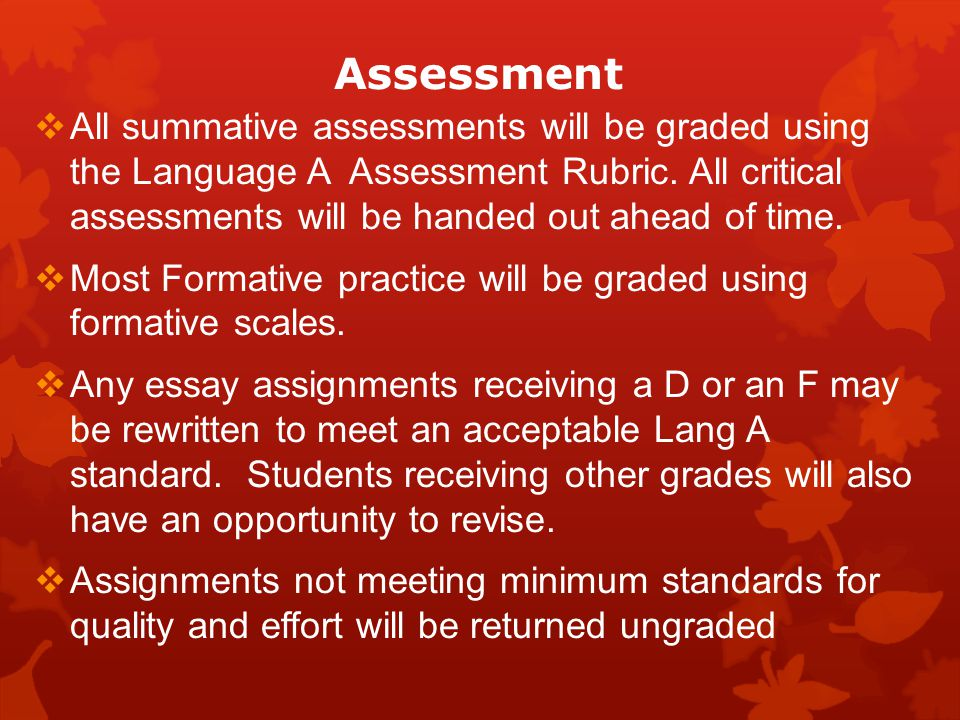 Assessment All summative assessments will be graded using the Language A Assessment Rubric.