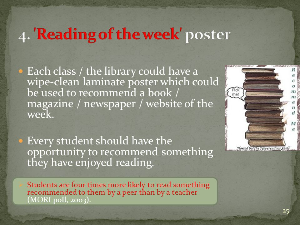 Each class / the library could have a wipe-clean laminate poster which could be used to recommend a book / magazine / newspaper / website of the week.