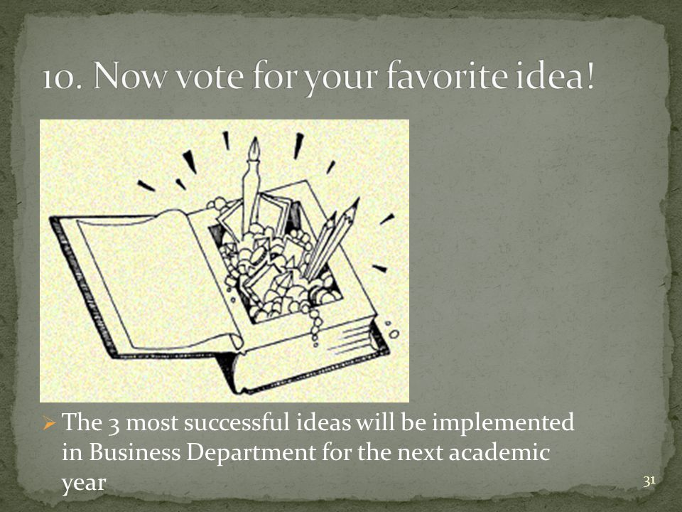 The 3 most successful ideas will be implemented in Business Department for the next academic year 31