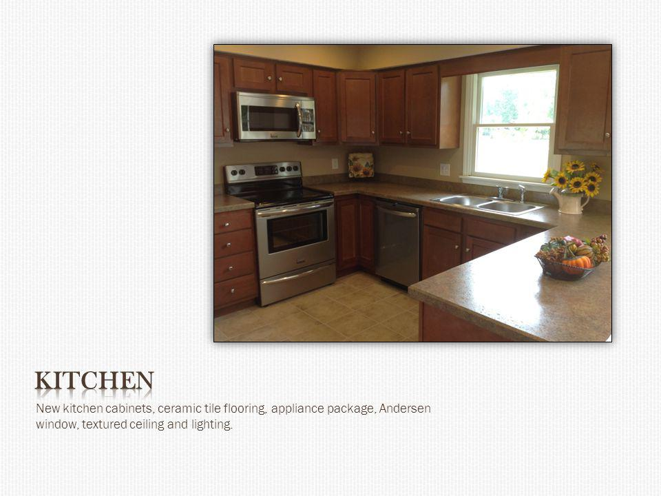 New kitchen cabinets, ceramic tile flooring, appliance package, Andersen window, textured ceiling and lighting.