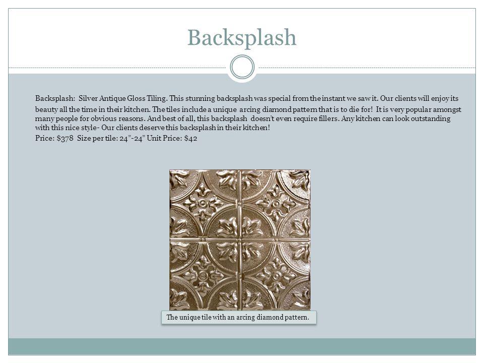 Backsplash Backsplash: Silver Antique Gloss Tiling.