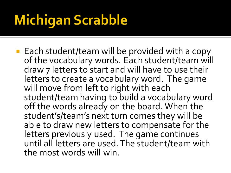 Each student/team will be provided with a copy of the vocabulary words.