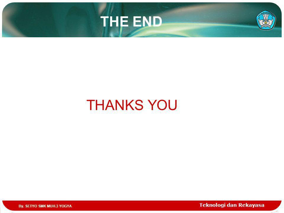 THE END Teknologi dan Rekayasa THANKS YOU By. SETYO SMK MUH.3 YOGYA