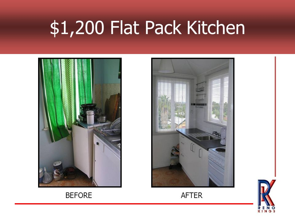 $1,200 Flat Pack Kitchen BEFOREAFTER
