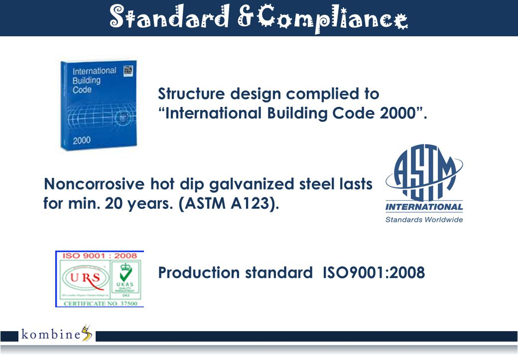 Standard &Compliance Structure design complied to International Building Code 2000. Production standard ISO9001:2008 Noncorrosive hot dip galvanized s