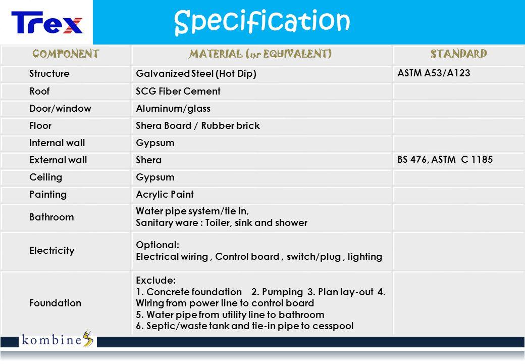 Specification COMPONENTMATERIAL (or EQUIVALENT)STANDARD StructureGalvanized Steel (Hot Dip) ASTM A53/A123 RoofSCG Fiber Cement Door/windowAluminum/gla