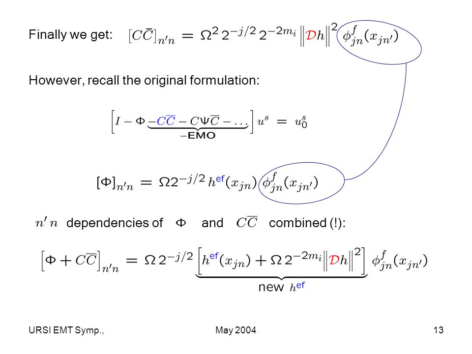 URSI EMT Symp.,May 200413 Finally we get: However, recall the original formulation: dependencies of and combined (!):