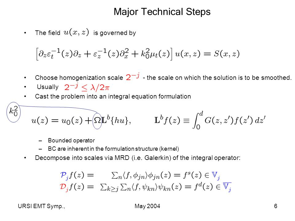 URSI EMT Symp.,May 20046 Major Technical Steps The field is governed by Choose homogenization scale - the scale on which the solution is to be smoothed.