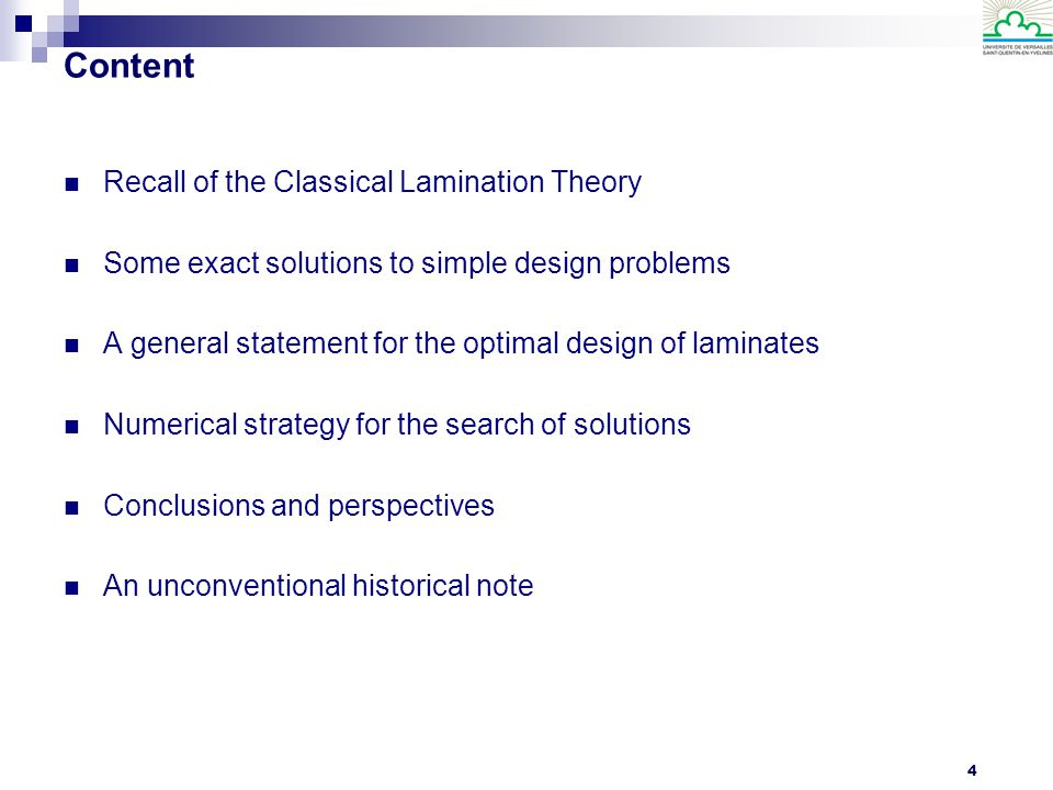 5 Recall of the Classical Lamination Theory The Classical Lamination Theory provides the constitutive law for a thin laminate under extension and bending actions: z p z p h/2 z k-1 zkzk 0 1 k -k-k -p-p h/2 z k-1 zkzk 1 k -k-k -p n=2p+1 n=2p