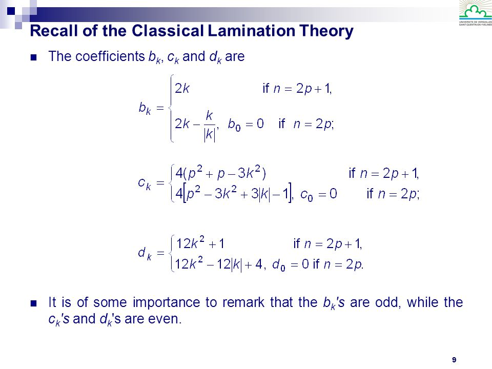 10 Recall of the Classical Lamination Theory It is important to notice that for laminates with identical plies, only the anisotropic behavior can be designed: so, you have only two polar equations for each tensor.