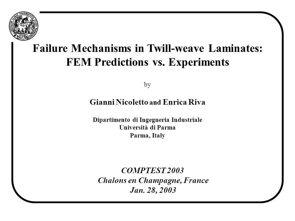 Failure Mechanisms in Twill-weave Laminates: FEM Predictions vs. Experiments by Gianni Nicoletto and Enrica Riva Dipartimento di Ingegneria Industrial