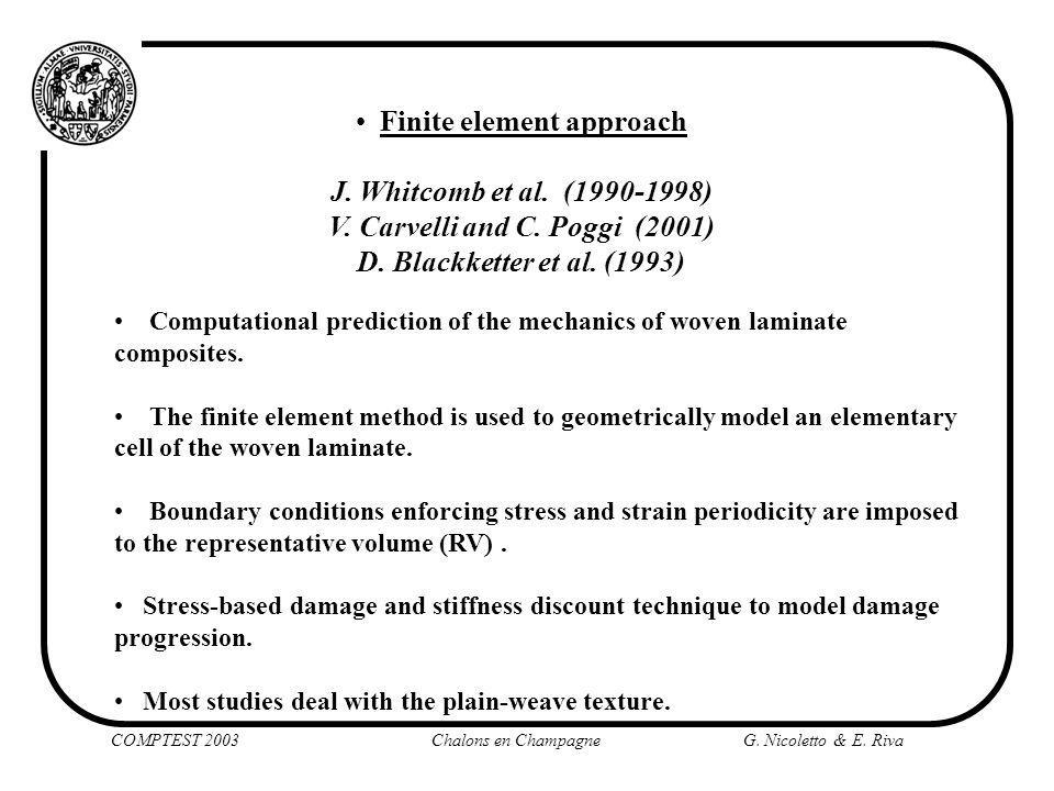 Finite element approach J. Whitcomb et al. (1990-1998) V. Carvelli and C. Poggi (2001) D. Blackketter et al. (1993) COMPTEST 2003 Chalons en Champagne