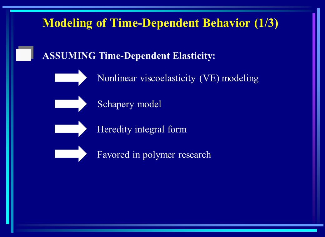Modeling of Time-Dependent Behavior (1/3) ASSUMING Time-Dependent Elasticity: Nonlinear viscoelasticity (VE) modeling Schapery model Heredity integral form Favored in polymer research