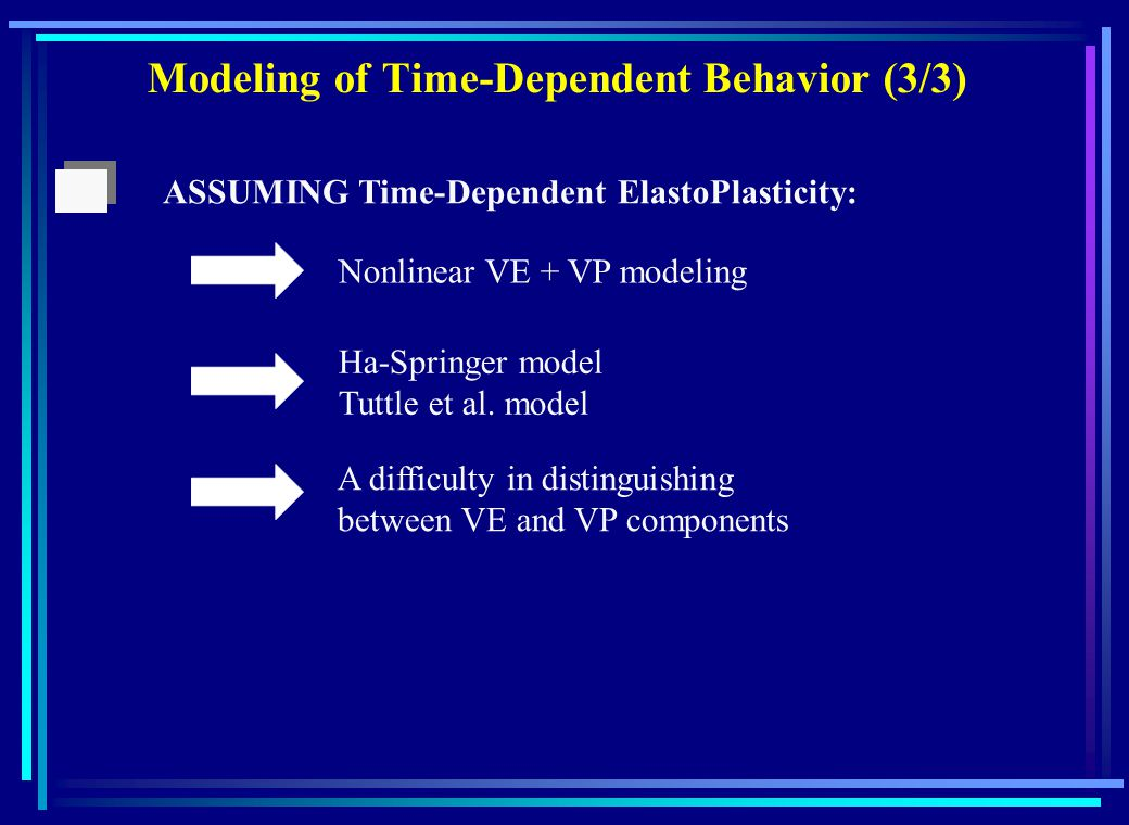 Modeling of Time-Dependent Behavior (3/3) Nonlinear VE + VP modeling Ha-Springer model Tuttle et al.