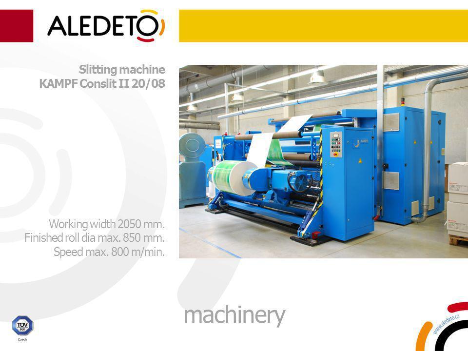 Slitting machine KAMPF Conslit II 20/08 Working width 2050 mm. Finished roll dia max. 850 mm. Speed max. 800 m/min. machinery