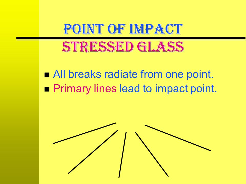n All breaks radiate from one point. n Primary lines lead to impact point. POINT OF IMPACT Stressed Glass