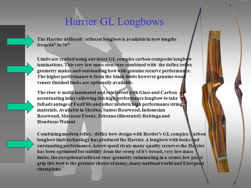 Harrier GL Longbows The Harrier deflexed / reflexed longbow is available in bow lengths from 64 to 70 The riser is multi-laminated and reinforced with Glass and Carbon accentuating inlays allowing this high performance longbow to take full advantage of FastFlite and other modern high performance string materials.
