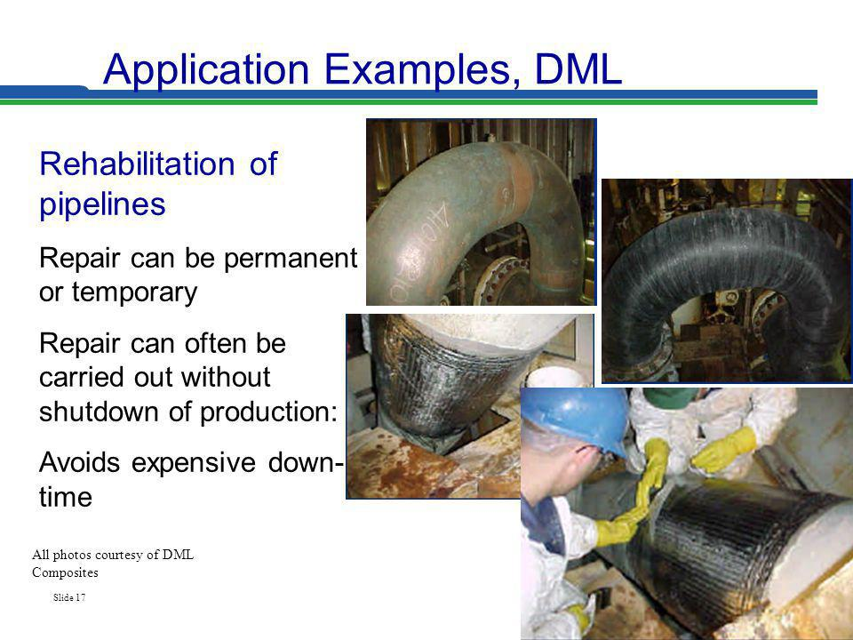 Slide 17 Application Examples, DML Rehabilitation of pipelines Repair can be permanent or temporary Repair can often be carried out without shutdown o